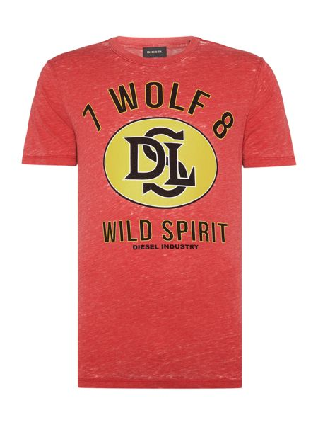 Diesel T-Joe regular fit wolf spirit crew neck t shirt