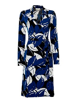 Abstract leaf printed wrap dress