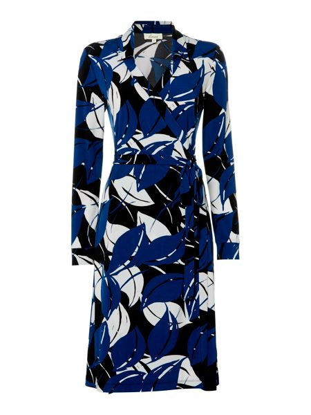 Linea Abstract leaf printed wrap dress