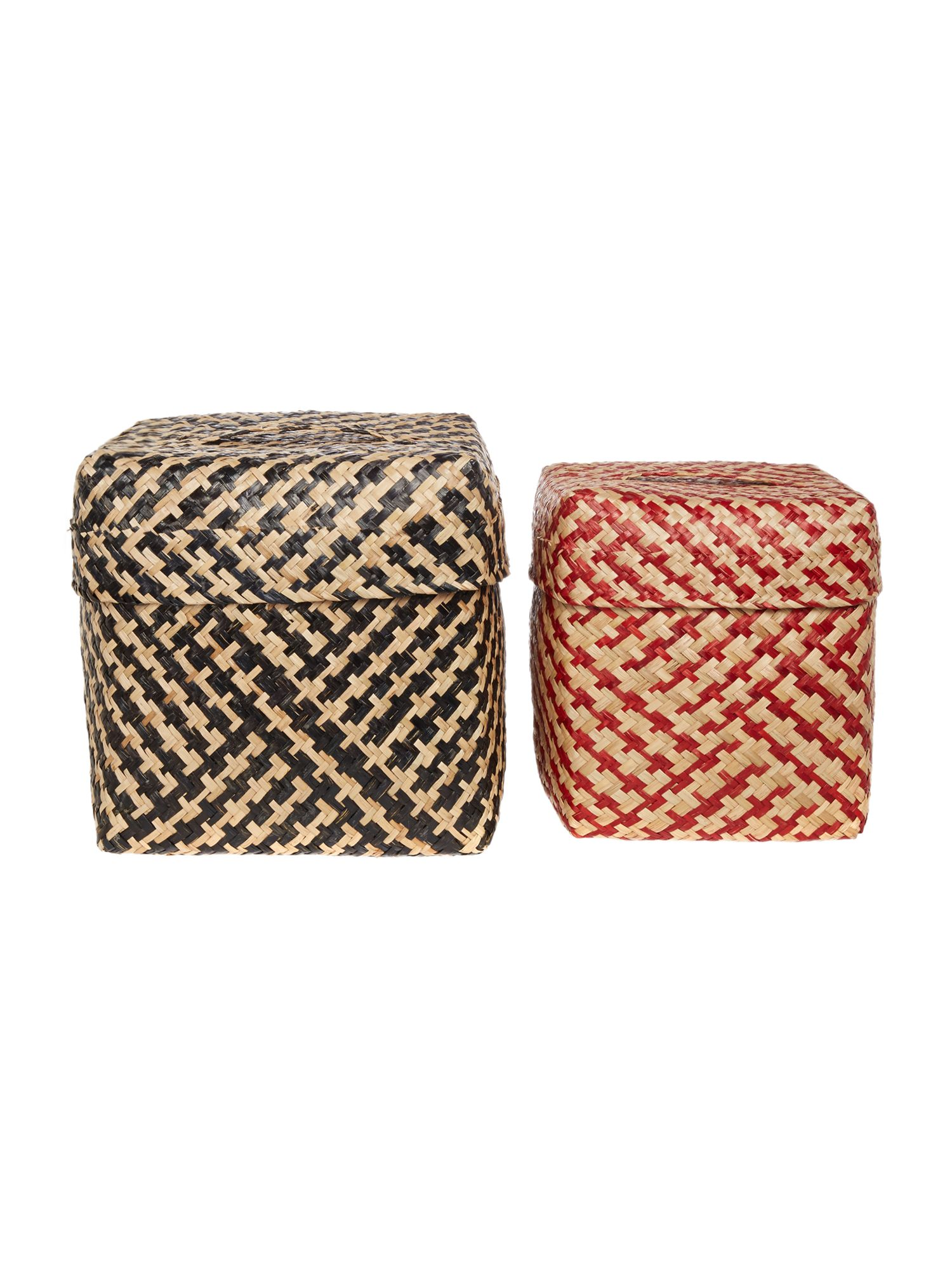 Linea Set of Two Square Woven Tubs
