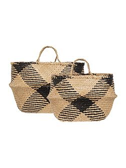 Set of two diamond seagrass baskets
