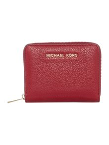 Michael Kors Adele red small zip around card case