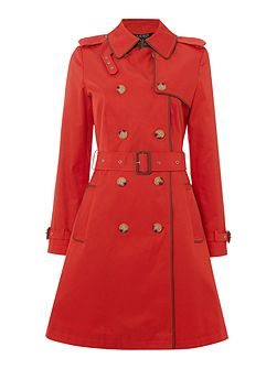 Classic trench coat with faux leather piping