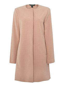 Collarless crepe coat