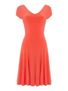 Falzara cap sleeve v neck dress