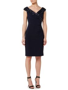 Lauren Ralph Lauren Cythia beaded neckline wrap dress