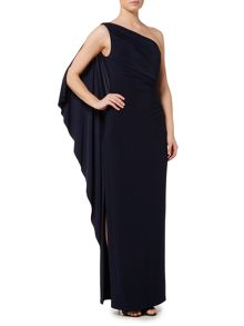 Lauren Ralph Lauren Lisamae one shoulder drape dress
