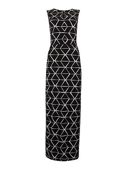 Monochrome print maxi dress