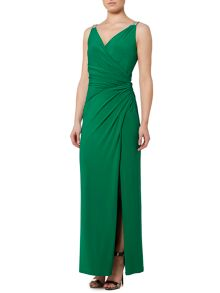 Lauren Ralph Lauren Lauren Lajos V-Neck Beaded Strap Dress