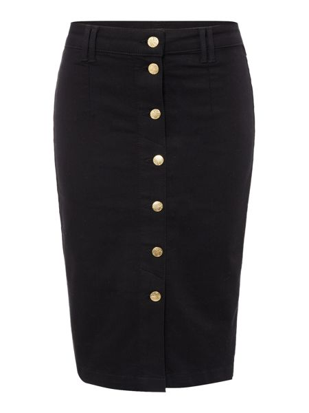 Biba Button through fitted denim skirt