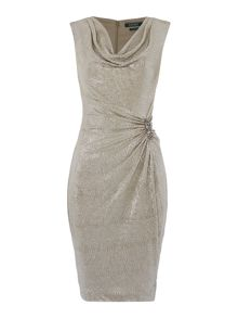 Lauren Ralph Lauren Normina metallic wrap gown with pin