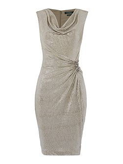 Normina metallic wrap gown with pin