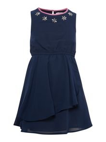 French Connection Girls Embellished Neck Sleeveless Dress