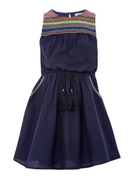 French Connection Girls Embroidered Dress with Pockets