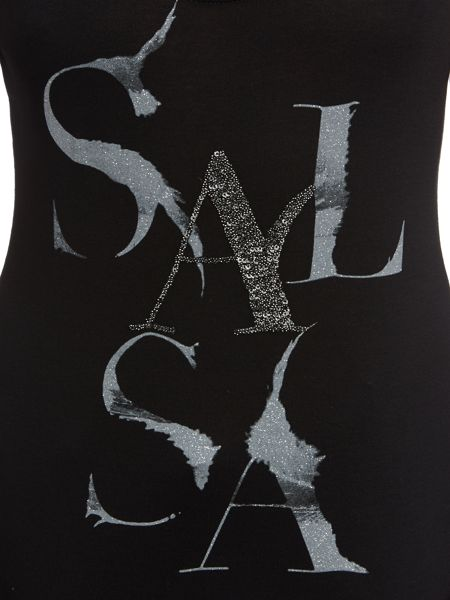 Salsa Sleeveless logo jersey top