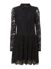 Vila Long Sleeve Drop Waist Lace Dress