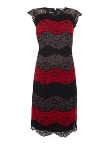 Linea Colourblock lace illusion dress