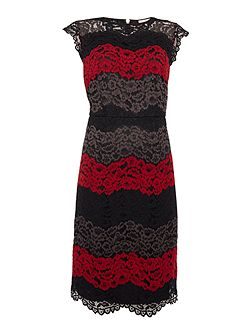 Colourblock lace illusion dress