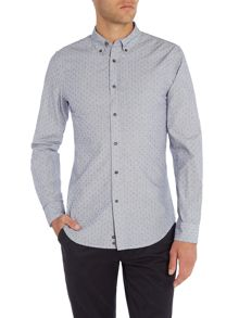Sisley Men Long Sleeve Fleck & Pocket Shirt