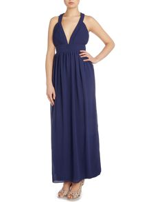 tfnc Sleeveless Cross Back Deep V Maxi Dress