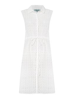 Broderie Anglais Shirt Dress Coverup