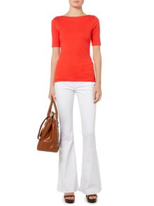 Ailis Elbow sleeve boatneck top