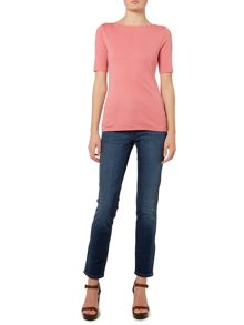 Lauren Ralph Lauren Ailis Elbow sleeve boatneck top