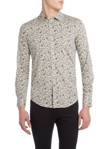 Sisley Men Ditsy Floral All Over Print Long Sleeve Shirt