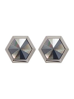 Hexagon mother of pearl cufflink