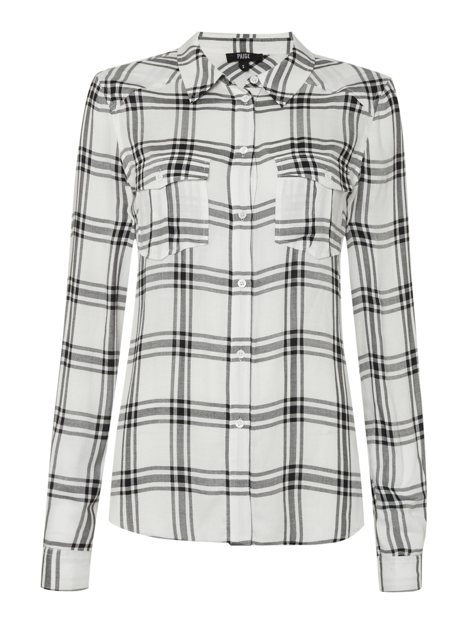 Paige Mya checked shirt, Black/White
