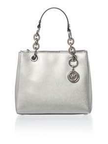 Michael Kors Cynthia silver small satchel bag