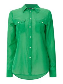 Lauren Ralph Lauren Ristow roll sleeve shirt in silk cotton mix