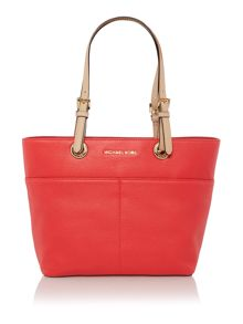 Michael Kors Bedford coral zip top pocket tote bag