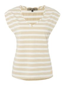 Biba Striped metallic v neck t-shirt