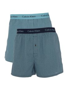 Calvin Klein 2 pack slim fit check and striped boxer set