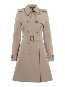 Trench coat with leather piping
