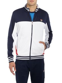 Fila Tiebraker contrast chest panel zip through sweat