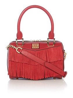 Mini fringe bowler bag
