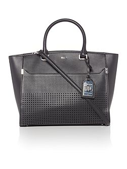 Sutton black perforated tote bag
