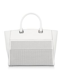 Lauren Ralph Lauren Sutton white perforated tote bag