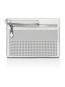 Lauren Ralph Lauren Sutton white perforated black clutch bag