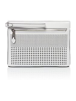 Sutton white perforated black clutch bag