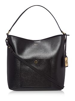 Newbury black pocket hobo bag