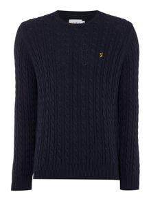 Farah Lewes crew neck cable knit jumper