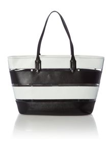 Lauren Ralph Lauren Tate mono stripe leather & transparent tote