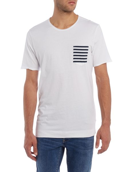 Sisley Men Stripe Pocket Short Sleeve T-shirt