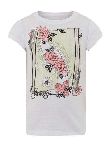 Converse Girls Floral Sneaker Graphic T-shirt