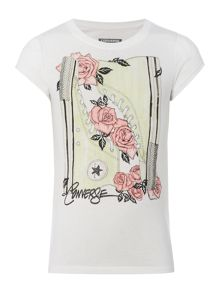 Girls Floral Sneaker Graphic T-shirt