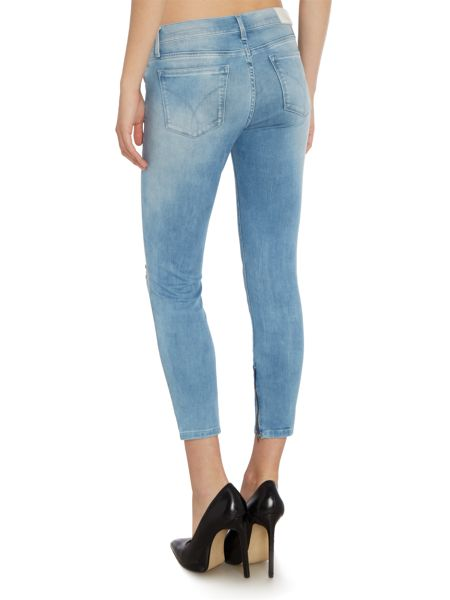 Calvin Klein Mid rise super skinny zip crop in soft cloud