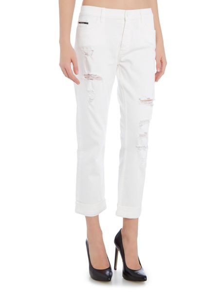 Calvin Klein Slim ripped boyfriend jean in infinite white